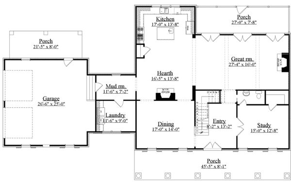 Southern Floor Plan - Main Floor Plan Plan #1071-19