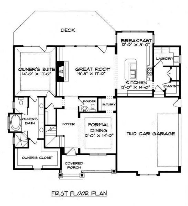 Craftsman Floor Plan - Main Floor Plan Plan #413-138