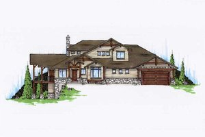 Bungalow Exterior - Front Elevation Plan #5-386