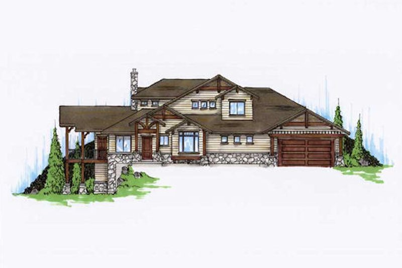 Bungalow Style House Plan - 5 Beds 4 Baths 2673 Sq/Ft Plan #5-386 Exterior - Front Elevation