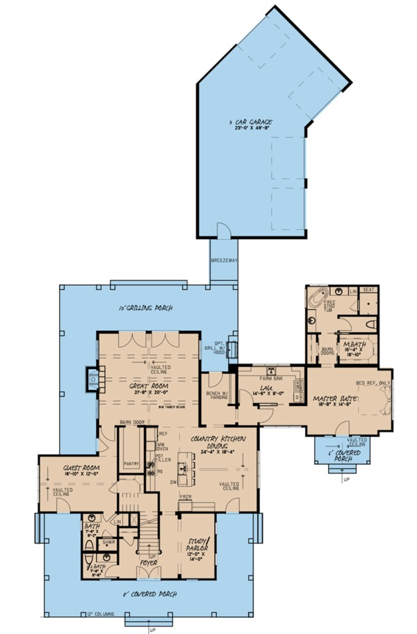 Farmhouse Floor Plan - Main Floor Plan Plan #923-101