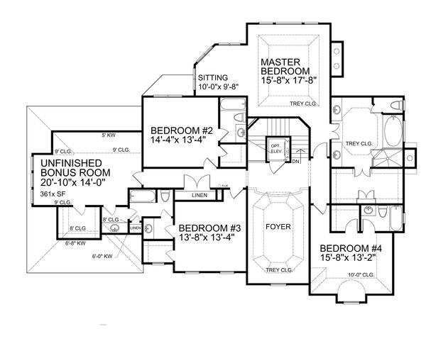 Traditional Floor Plan - Upper Floor Plan Plan #30-346