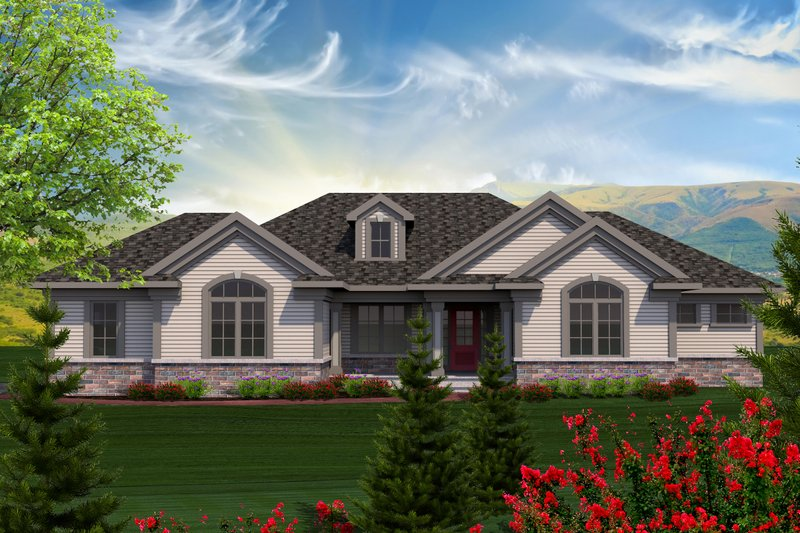 Ranch Exterior - Front Elevation Plan #70-1166