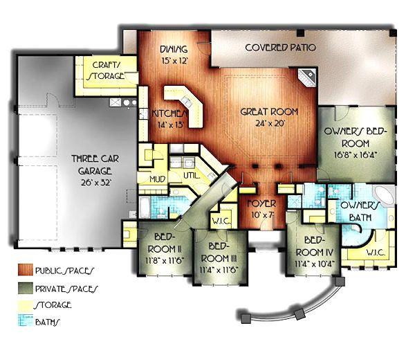 Mediterranean Floor Plan - Main Floor Plan Plan #24-260