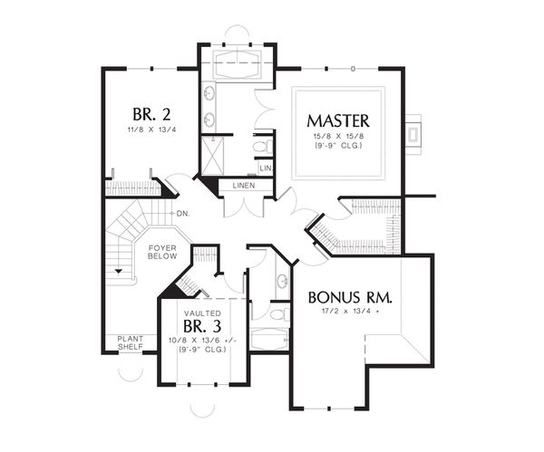 Traditional Floor Plan - Upper Floor Plan Plan #48-227