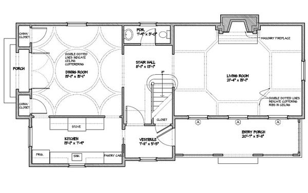 Colonial Floor Plan - Main Floor Plan Plan #477-3