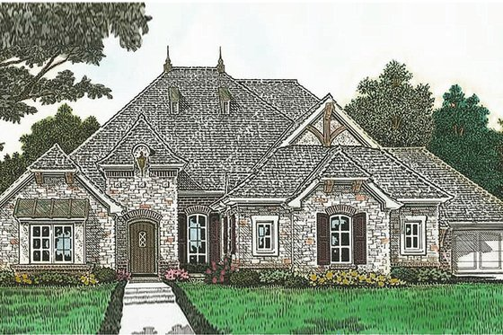 European Exterior - Front Elevation Plan #310-1281