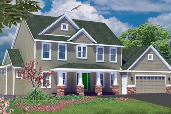 Craftsman Exterior - Front Elevation Plan #49-109
