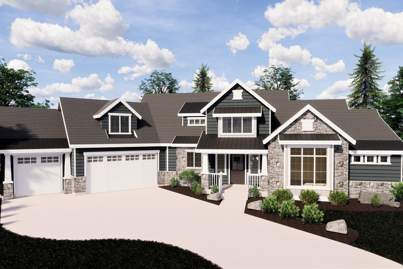 Craftsman Style House Plan - 6 Beds 4.5 Baths 5120 Sq/Ft Plan #920-10 Exterior - Front Elevation