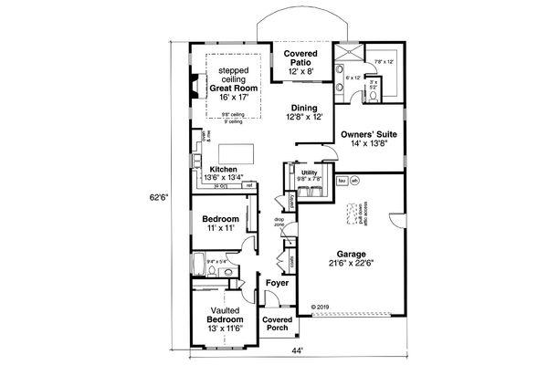 Architectural House Design - Craftsman Floor Plan - Main Floor Plan #124-1166