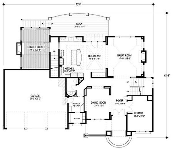 Traditional Floor Plan - Main Floor Plan Plan #56-603