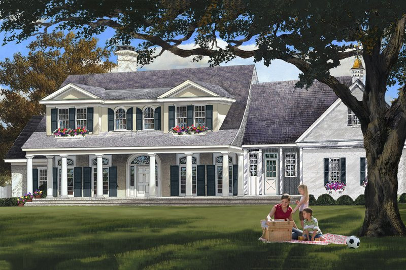 Home Plan - Colonial style home, elevation