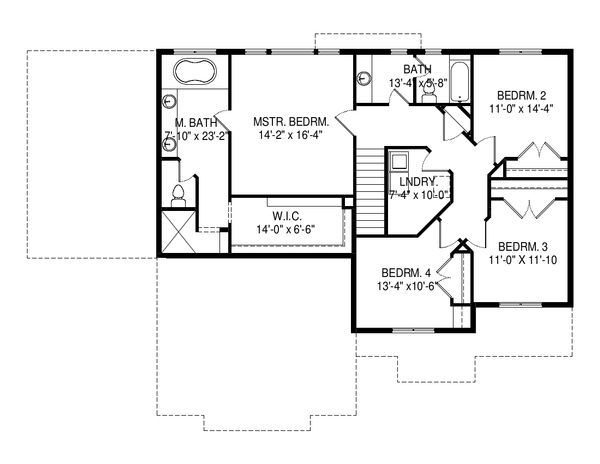Traditional Floor Plan - Upper Floor Plan Plan #920-100