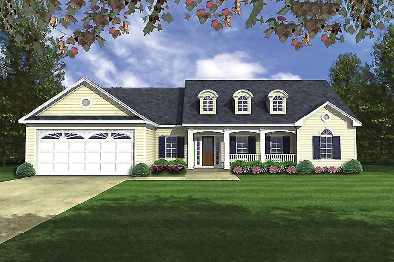Southern Exterior - Front Elevation Plan #21-208