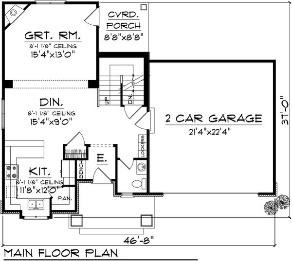 Traditional Floor Plan - Main Floor Plan Plan #70-1068