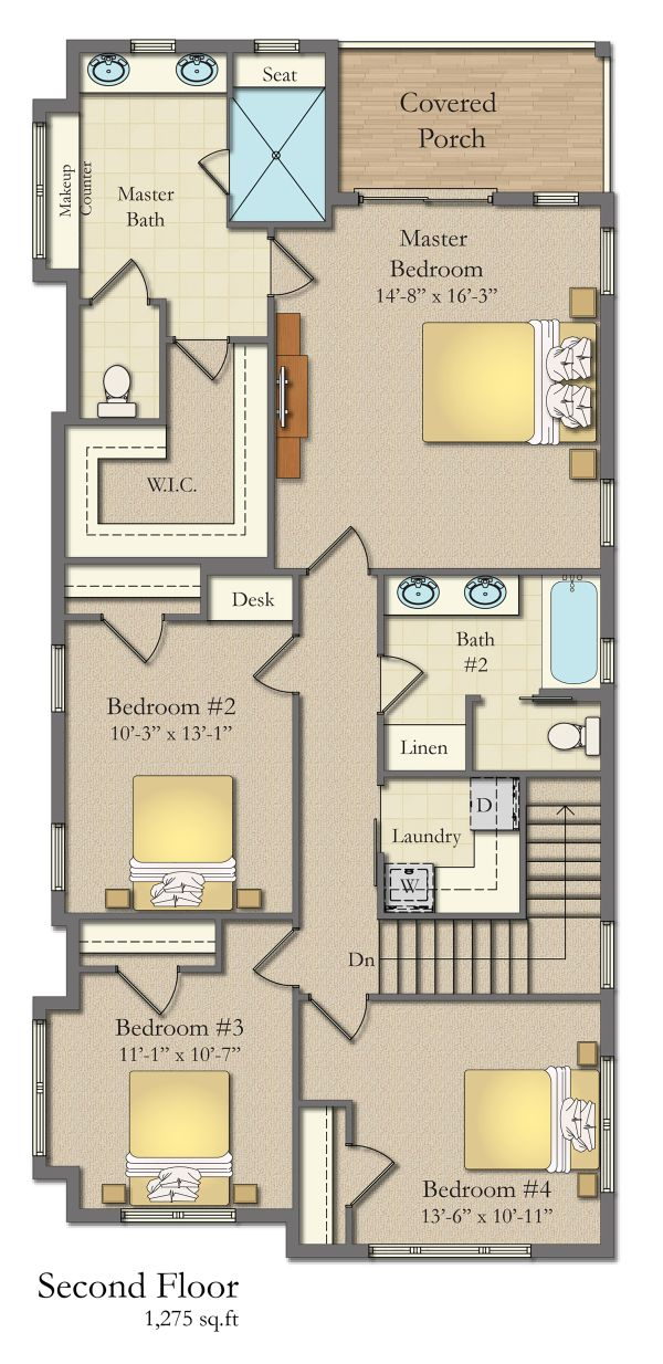 Craftsman Floor Plan - Upper Floor Plan Plan #1057-11