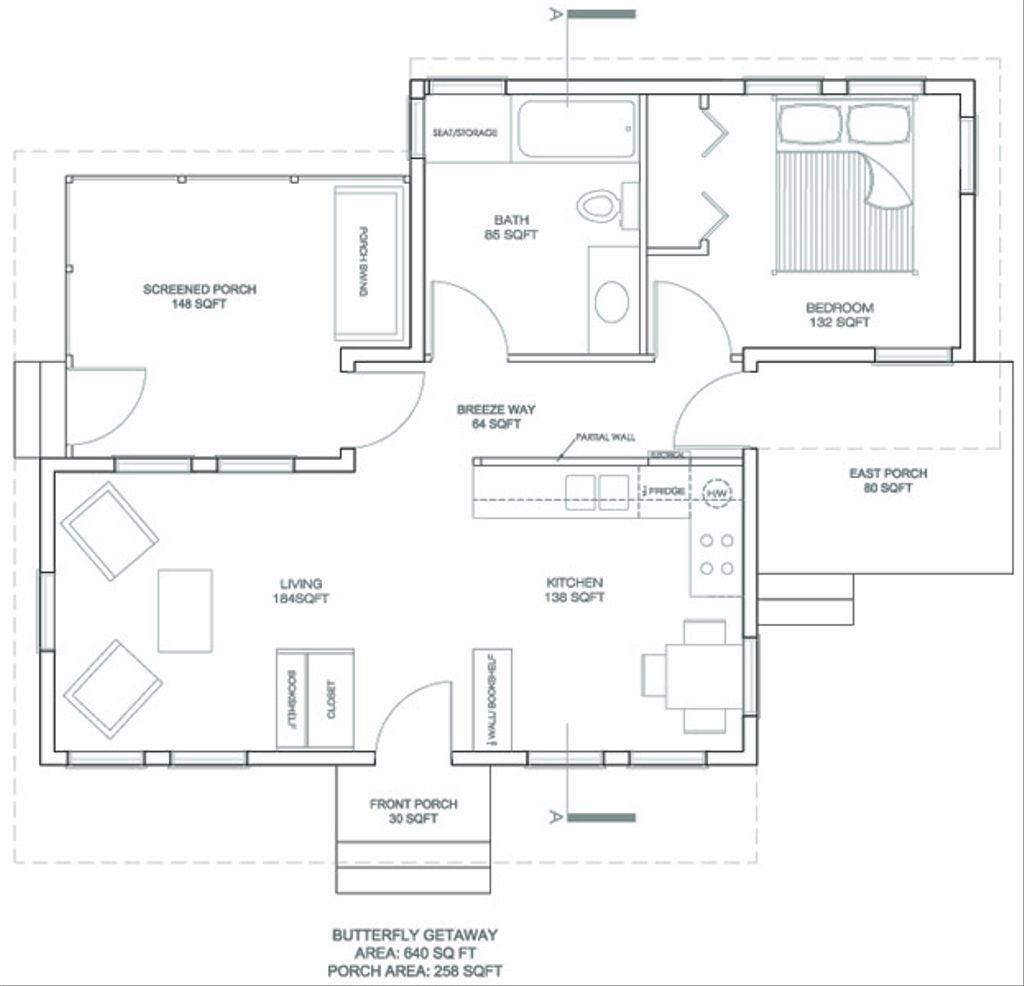 Modern style house plan 1 beds 1 baths 640 sq ft plan 486