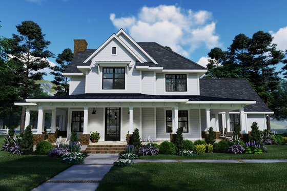 Farmhouse Exterior - Front Elevation Plan #120-261