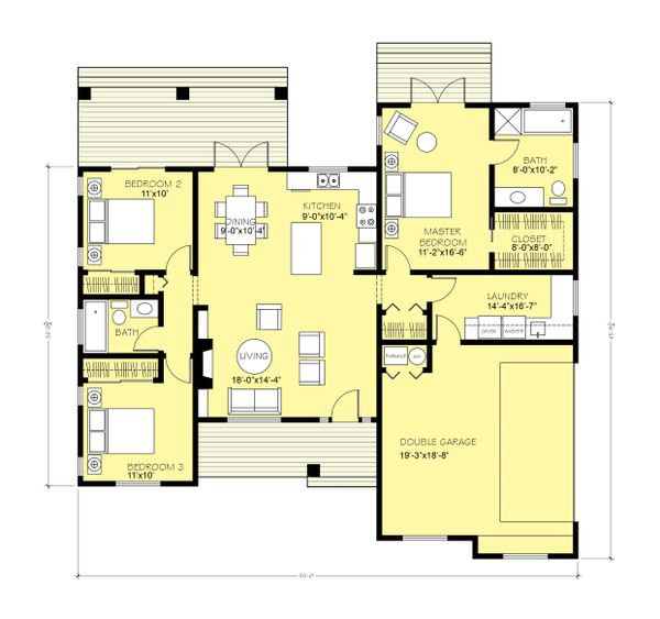 Home Plan - Simple Country Home Floor Plan