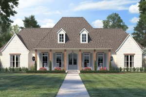 Southern Exterior - Front Elevation Plan #1074-17