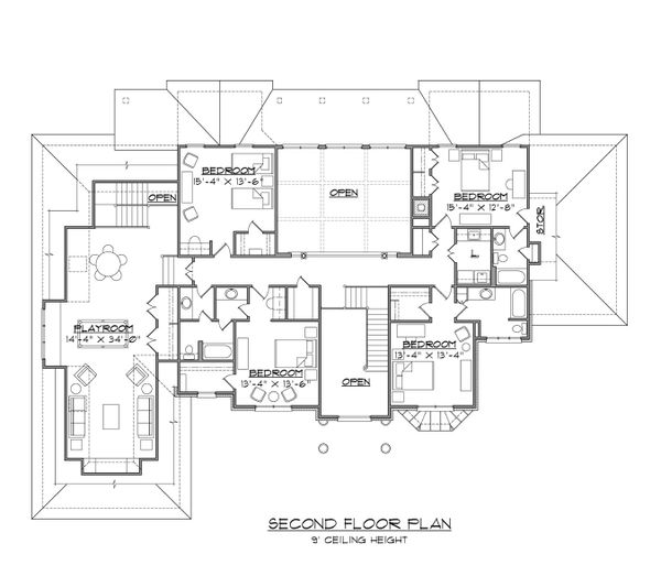 Traditional Floor Plan - Upper Floor Plan #1054-57