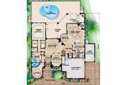 Mediterranean Style House Plan - 4 Beds 4.5 Baths 4310 Sq/Ft Plan #27-427 Floor Plan - Main Floor Plan
