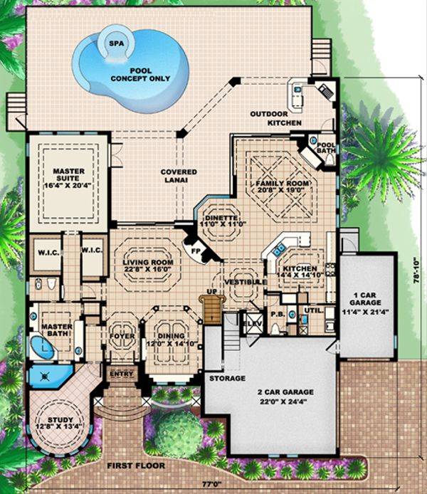 Mediterranean Floor Plan - Main Floor Plan Plan #27-427
