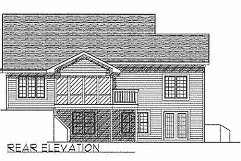 Traditional Exterior - Rear Elevation Plan #70-116 - Houseplans.com