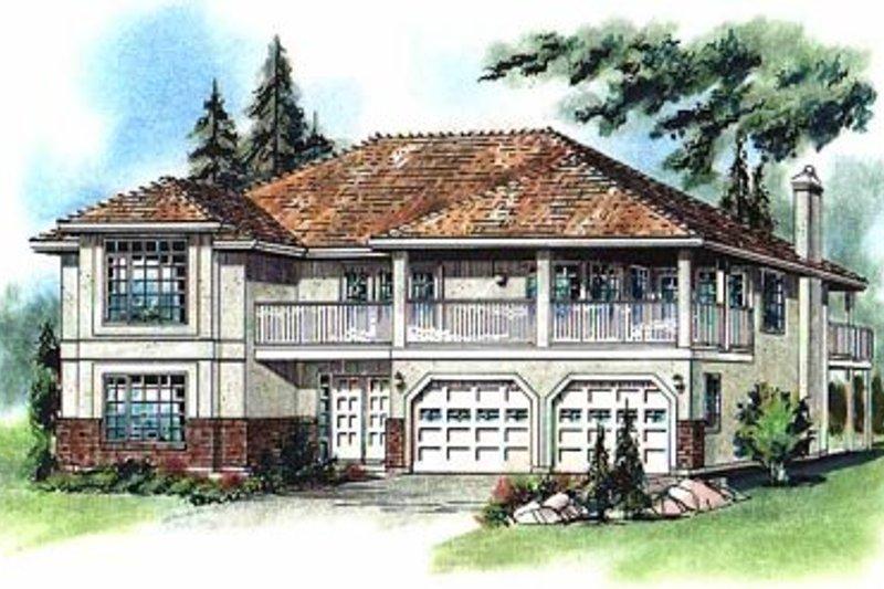 Architectural House Design - Mediterranean Exterior - Front Elevation Plan #18-251