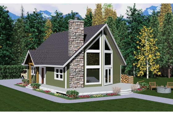 Cabin Exterior - Front Elevation Plan #126-194