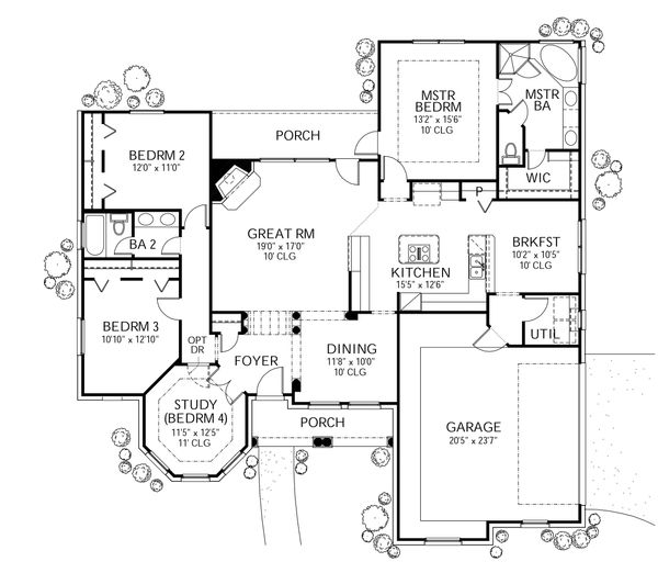 Traditional Floor Plan - Main Floor Plan Plan #80-114
