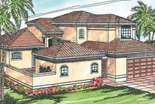 Home Plan - Mediterranean Exterior - Front Elevation Plan #124-230