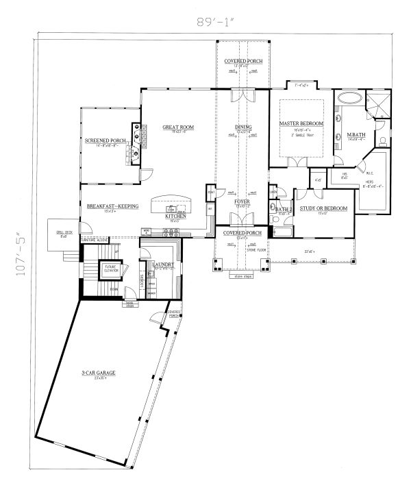Craftsman Floor Plan - Main Floor Plan Plan #437-102