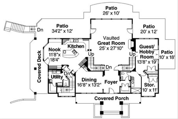 Craftsman Floor Plan - Main Floor Plan Plan #124-516