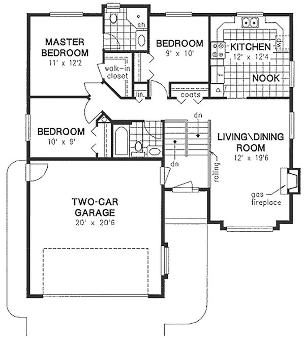 Traditional Floor Plan - Main Floor Plan Plan #18-304
