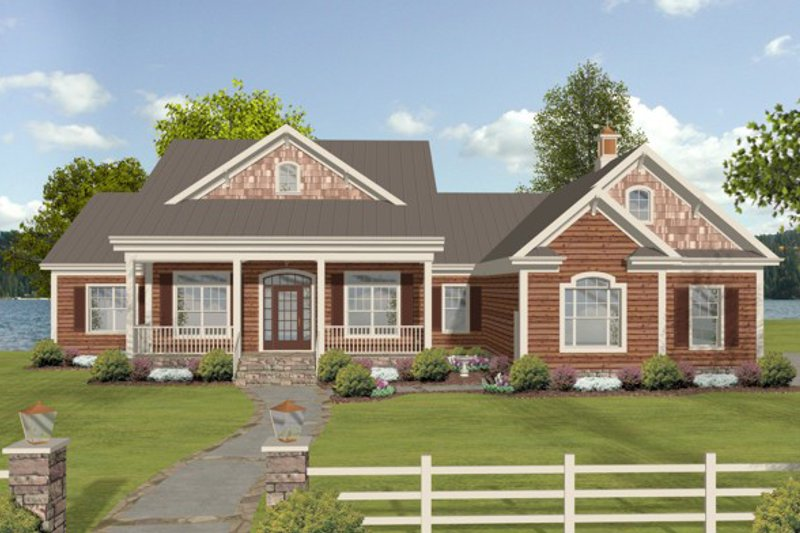 House Plan - 3 Beds 3 Baths 2183 Sq/Ft Plan #56-607 Exterior - Front Elevation