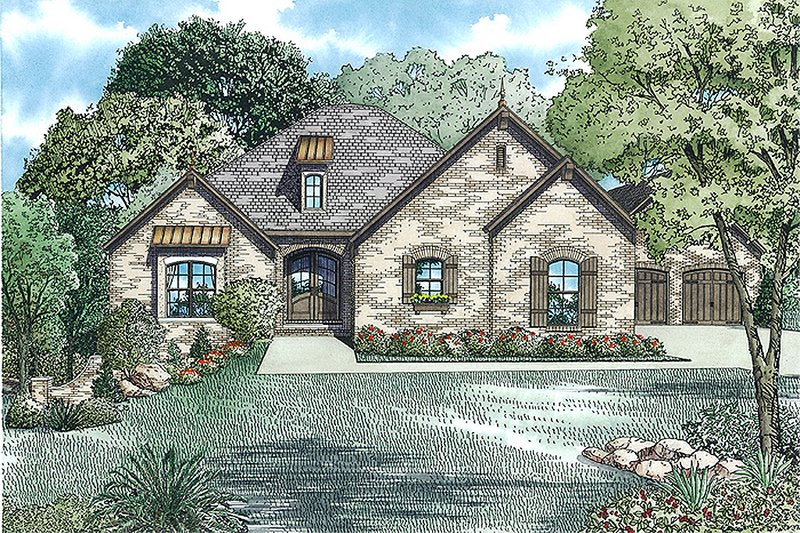European Style House Plan - 3 Beds 2.5 Baths 3509 Sq/Ft Plan #17-2479 Exterior - Front Elevation