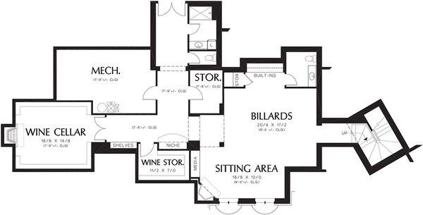 Mediterranean Floor Plan - Lower Floor Plan Plan #48-361