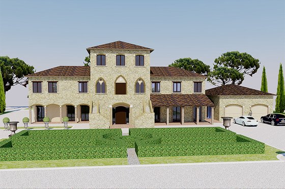 European Exterior - Front Elevation Plan #542-9