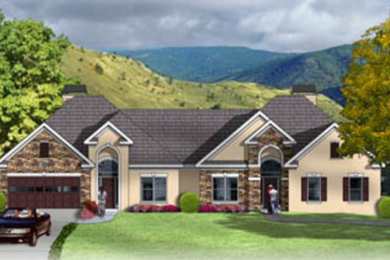European Style House Plan - 2 Beds 2 Baths 3730 Sq/Ft Plan #26-104 Exterior - Front Elevation