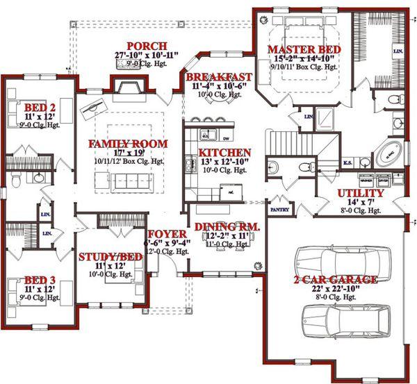 Traditional Floor Plan - Main Floor Plan Plan #63-202