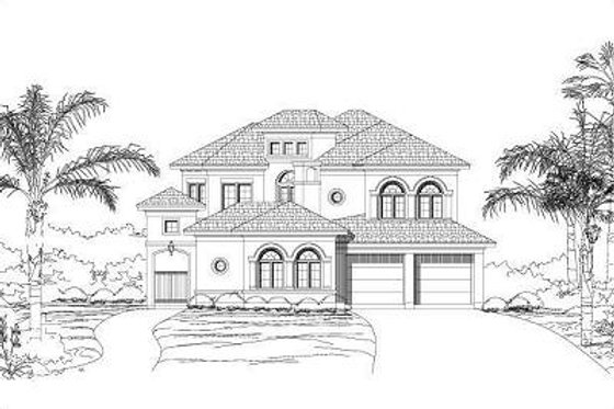European Exterior - Front Elevation Plan #411-260