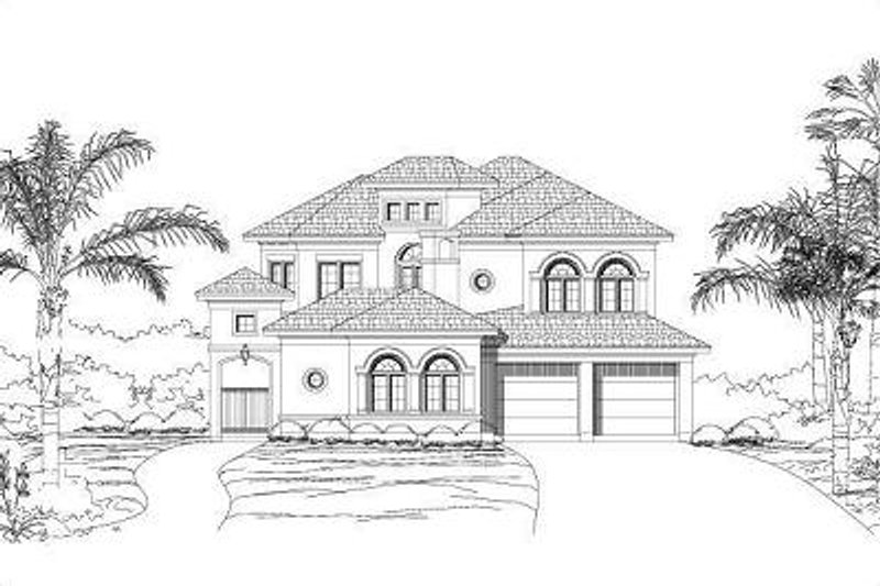 European Style House Plan - 4 Beds 4 Baths 3913 Sq/Ft Plan #411-260 Exterior - Front Elevation