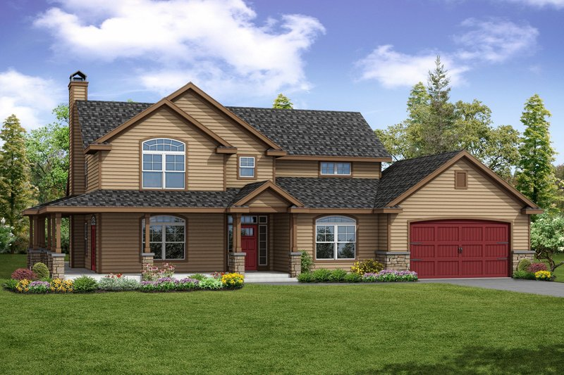 Country Exterior - Front Elevation Plan #124-1067