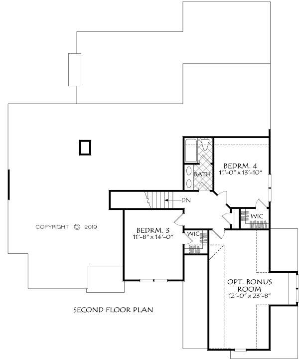 Farmhouse Floor Plan - Upper Floor Plan #927-1001