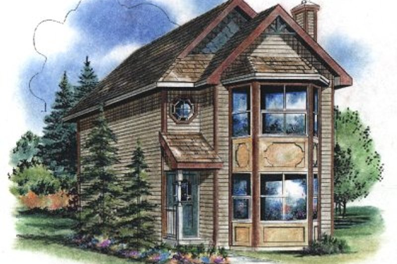 Victorian Style House Plan - 3 Beds 3 Baths 1122 Sq/Ft Plan #18-2002 Exterior - Front Elevation