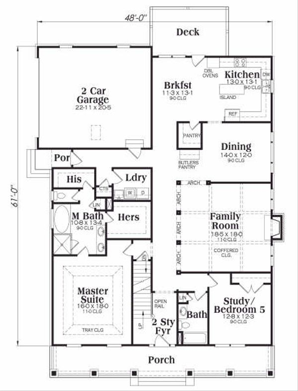 Craftsman Floor Plan - Main Floor Plan Plan #419-131