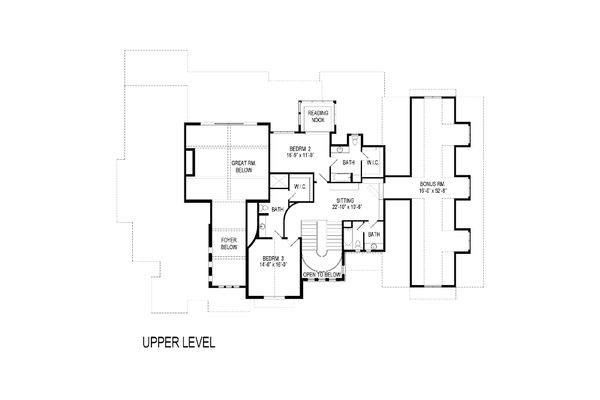 Craftsman Floor Plan - Upper Floor Plan Plan #920-49
