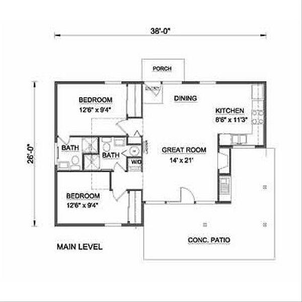 Farmhouse Floor Plan - Main Floor Plan Plan #116-230
