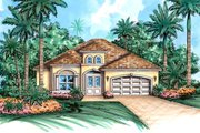 Mediterranean Style House Plan - 3 Beds 3 Baths 3325 Sq/Ft Plan #27-504 Exterior - Front Elevation